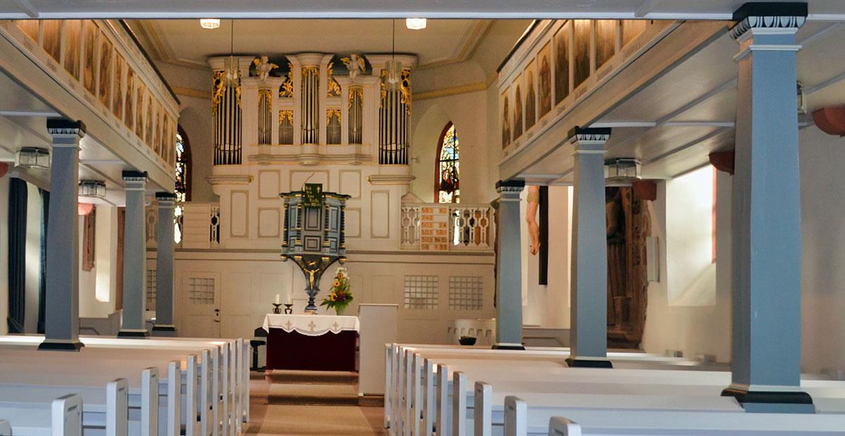 Orgel von Förster & Nikolaus (1907) in der Andreaskirche Büdesheim (Hessen)